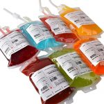 "Live ""Blood"" of Theme Parties – 10 Pack Amazlab Blood Bag Drink Container Set of 10 IV Bags 11.5 Fl Oz, Halloween Party Cups"