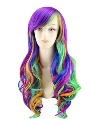 Topwigy 25″ Women's Long Anime Cosplay Wig Long Curly Wave Rainbow Hair Wig Party Costume Wig +Wig Cap (Rainbow)