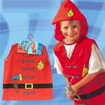 Halloween Cosplay Costume Child Role-playing Clothes Firefighters Police Party Chef Service Engineer (RED)