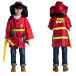 Fire Chief Role Play Costume Dress-Up Set With Fireman Hat and Firefighter Tools, Includes Water Hose, Spraying Fire Extinguisher, Hammer, Toy Walkie Talkie