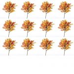 Factory Direct Craft Fall Artificial Silk Oak Leaf Picks with Autumn Berry Cluster Accent – 12 Picks