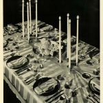 1931 Print Dining Table Setting Thanksgiving Centerpiece Candles Holiday Decor – Original Halftone Print