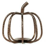 The Relaxed Gardener Copper Pumpkin Tea Light Candle Holder – Perfect Size for Tea Lights and Votive Flameless Candles – Ideal for Fall, Halloween and Thanksgiving Decorating