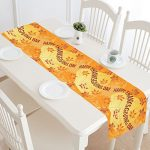 InterestPrint Autumn Leaves and Berries Polyester Table Runner Placemat 16 x 72 inch, Happy Thanksgiving Greeting Tablecloth for Office Kitchen Dining Wedding Party Home Decor