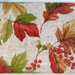 Autumn Leaves with Berries and Acorns Vinyl Tablecloth on Beige Patterned Background -Flannel Backing (52″ x 90″ Oblong)