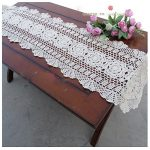 WSHINE Crochet Cotton Sofa Table Cover Lace Doilies Table Runner for Home Party Wedding Banquet Decoration (11.8″35.4″, white)