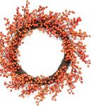 14″ Autumn Harvest Decorative Artificial Red and Orange Fall Berry Wreath – Unlit